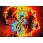 Crazy Mandelbrot Fractal Red Yellow Turquoise Circle 3D Greeting Card (7x5) Back