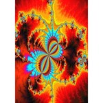 Crazy Mandelbrot Fractal Red Yellow Turquoise WORK HARD 3D Greeting Card (7x5) Inside