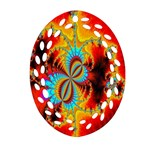 Crazy Mandelbrot Fractal Red Yellow Turquoise Oval Filigree Ornament (2-Side)  Front