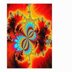 Crazy Mandelbrot Fractal Red Yellow Turquoise Small Garden Flag (Two Sides) Back