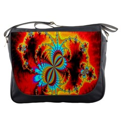Crazy Mandelbrot Fractal Red Yellow Turquoise Messenger Bags by EDDArt