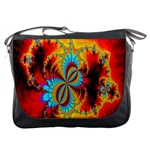 Crazy Mandelbrot Fractal Red Yellow Turquoise Messenger Bags Front