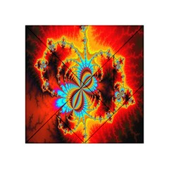 Crazy Mandelbrot Fractal Red Yellow Turquoise Acrylic Tangram Puzzle (4  x 4 )