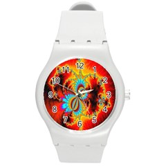 Crazy Mandelbrot Fractal Red Yellow Turquoise Round Plastic Sport Watch (m)