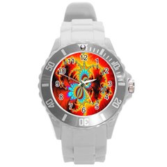 Crazy Mandelbrot Fractal Red Yellow Turquoise Round Plastic Sport Watch (l) by EDDArt