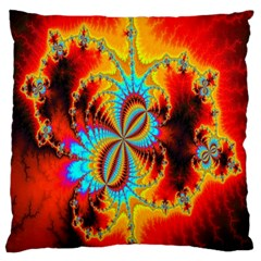 Crazy Mandelbrot Fractal Red Yellow Turquoise Large Cushion Case (two Sides) by EDDArt