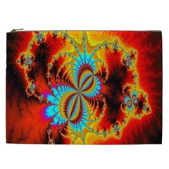 Crazy Mandelbrot Fractal Red Yellow Turquoise Cosmetic Bag (xxl)  by EDDArt