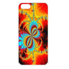 Crazy Mandelbrot Fractal Red Yellow Turquoise Apple Iphone 5 Seamless Case (white)