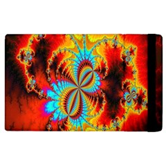 Crazy Mandelbrot Fractal Red Yellow Turquoise Apple Ipad 2 Flip Case by EDDArt