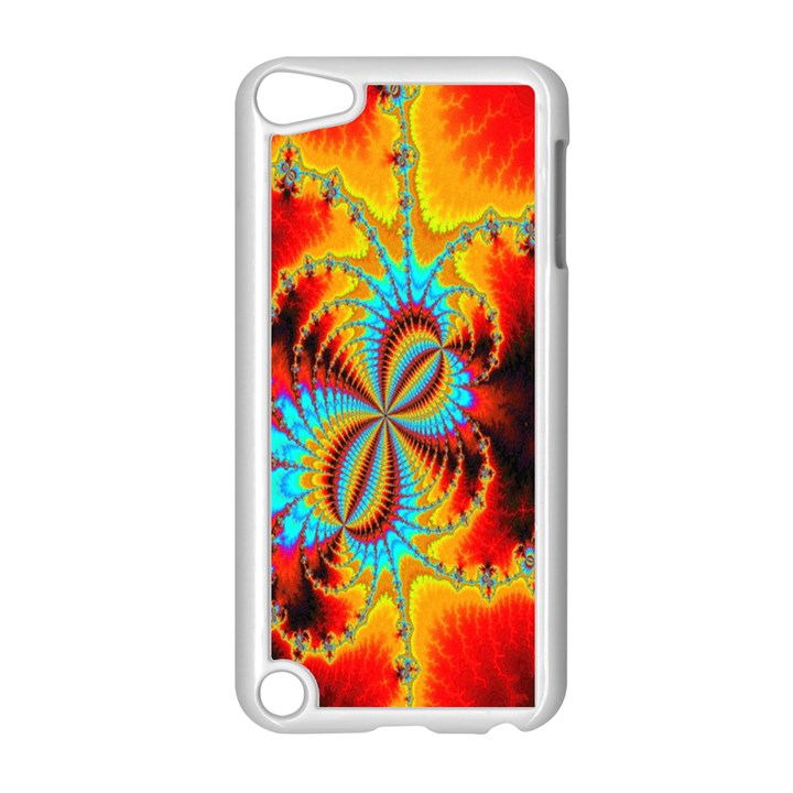 Crazy Mandelbrot Fractal Red Yellow Turquoise Apple iPod Touch 5 Case (White)