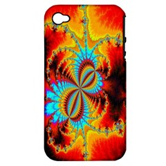 Crazy Mandelbrot Fractal Red Yellow Turquoise Apple Iphone 4/4s Hardshell Case (pc+silicone) by EDDArt