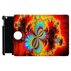 Crazy Mandelbrot Fractal Red Yellow Turquoise Apple Ipad 2 Flip 360 Case by EDDArt