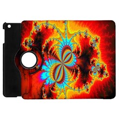 Crazy Mandelbrot Fractal Red Yellow Turquoise Apple Ipad Mini Flip 360 Case by EDDArt