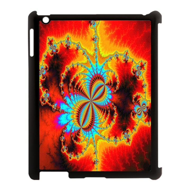 Crazy Mandelbrot Fractal Red Yellow Turquoise Apple iPad 3/4 Case (Black)