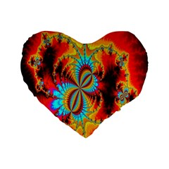 Crazy Mandelbrot Fractal Red Yellow Turquoise Standard 16  Premium Heart Shape Cushions by EDDArt