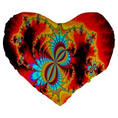 Crazy Mandelbrot Fractal Red Yellow Turquoise Large 19  Premium Heart Shape Cushions by EDDArt