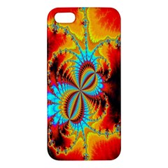 Crazy Mandelbrot Fractal Red Yellow Turquoise Apple Iphone 5 Premium Hardshell Case by EDDArt