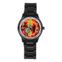 Crazy Mandelbrot Fractal Red Yellow Turquoise Stainless Steel Round Watch by EDDArt