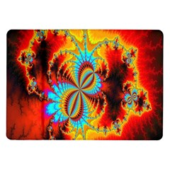 Crazy Mandelbrot Fractal Red Yellow Turquoise Samsung Galaxy Tab 10 1  P7500 Flip Case by EDDArt
