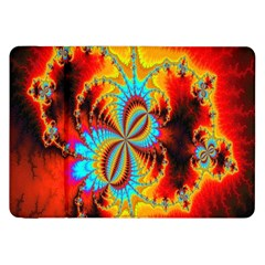 Crazy Mandelbrot Fractal Red Yellow Turquoise Samsung Galaxy Tab 8 9  P7300 Flip Case by EDDArt