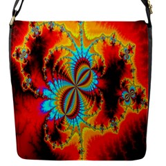 Crazy Mandelbrot Fractal Red Yellow Turquoise Flap Messenger Bag (s)