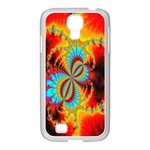 Crazy Mandelbrot Fractal Red Yellow Turquoise Samsung GALAXY S4 I9500/ I9505 Case (White) Front