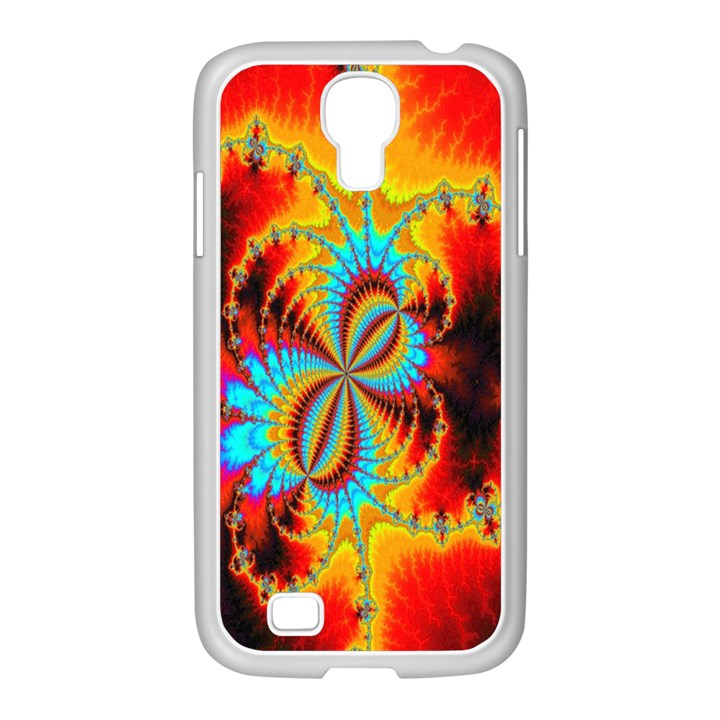 Crazy Mandelbrot Fractal Red Yellow Turquoise Samsung GALAXY S4 I9500/ I9505 Case (White)