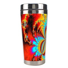 Crazy Mandelbrot Fractal Red Yellow Turquoise Stainless Steel Travel Tumblers by EDDArt