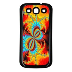 Crazy Mandelbrot Fractal Red Yellow Turquoise Samsung Galaxy S3 Back Case (black) by EDDArt
