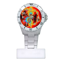 Crazy Mandelbrot Fractal Red Yellow Turquoise Plastic Nurses Watch