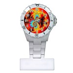 Crazy Mandelbrot Fractal Red Yellow Turquoise Plastic Nurses Watch Front