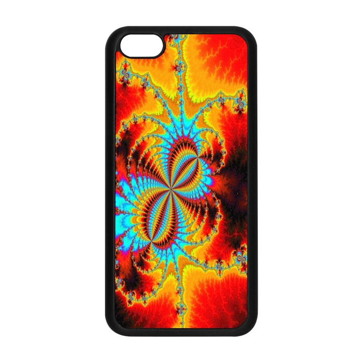 Crazy Mandelbrot Fractal Red Yellow Turquoise Apple iPhone 5C Seamless Case (Black)