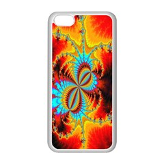Crazy Mandelbrot Fractal Red Yellow Turquoise Apple Iphone 5c Seamless Case (white) by EDDArt