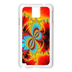 Crazy Mandelbrot Fractal Red Yellow Turquoise Samsung Galaxy Note 3 N9005 Case (white) by EDDArt