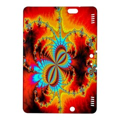 Crazy Mandelbrot Fractal Red Yellow Turquoise Kindle Fire Hdx 8 9  Hardshell Case by EDDArt