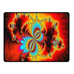 Crazy Mandelbrot Fractal Red Yellow Turquoise Double Sided Fleece Blanket (small)  by EDDArt