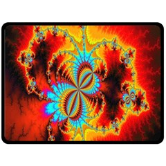 Crazy Mandelbrot Fractal Red Yellow Turquoise Double Sided Fleece Blanket (large)
