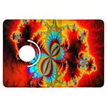 Crazy Mandelbrot Fractal Red Yellow Turquoise Kindle Fire HDX Flip 360 Case Front