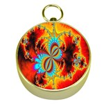 Crazy Mandelbrot Fractal Red Yellow Turquoise Gold Compasses Front