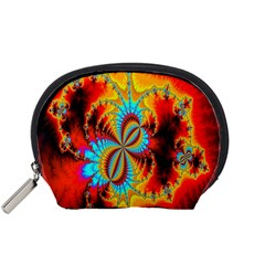 Crazy Mandelbrot Fractal Red Yellow Turquoise Accessory Pouches (small)  by EDDArt