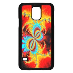 Crazy Mandelbrot Fractal Red Yellow Turquoise Samsung Galaxy S5 Case (black) by EDDArt