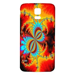 Crazy Mandelbrot Fractal Red Yellow Turquoise Samsung Galaxy S5 Back Case (white) by EDDArt