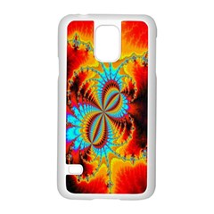Crazy Mandelbrot Fractal Red Yellow Turquoise Samsung Galaxy S5 Case (white) by EDDArt