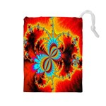 Crazy Mandelbrot Fractal Red Yellow Turquoise Drawstring Pouches (Large)  Front