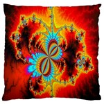 Crazy Mandelbrot Fractal Red Yellow Turquoise Large Flano Cushion Case (Two Sides) Back