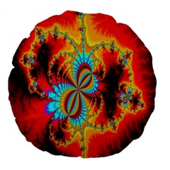 Crazy Mandelbrot Fractal Red Yellow Turquoise Large 18  Premium Flano Round Cushions