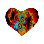 Crazy Mandelbrot Fractal Red Yellow Turquoise Standard 16  Premium Flano Heart Shape Cushions Back