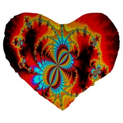 Crazy Mandelbrot Fractal Red Yellow Turquoise Large 19  Premium Flano Heart Shape Cushions by EDDArt