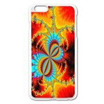 Crazy Mandelbrot Fractal Red Yellow Turquoise Apple iPhone 6 Plus/6S Plus Enamel White Case Front