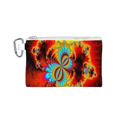 Crazy Mandelbrot Fractal Red Yellow Turquoise Canvas Cosmetic Bag (s) by EDDArt